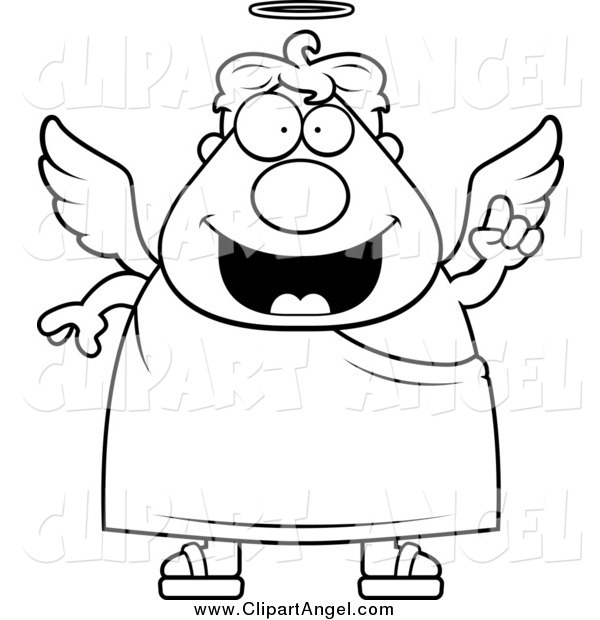 Illustration Vector Cartoon of a Black and White Smart Angel Man