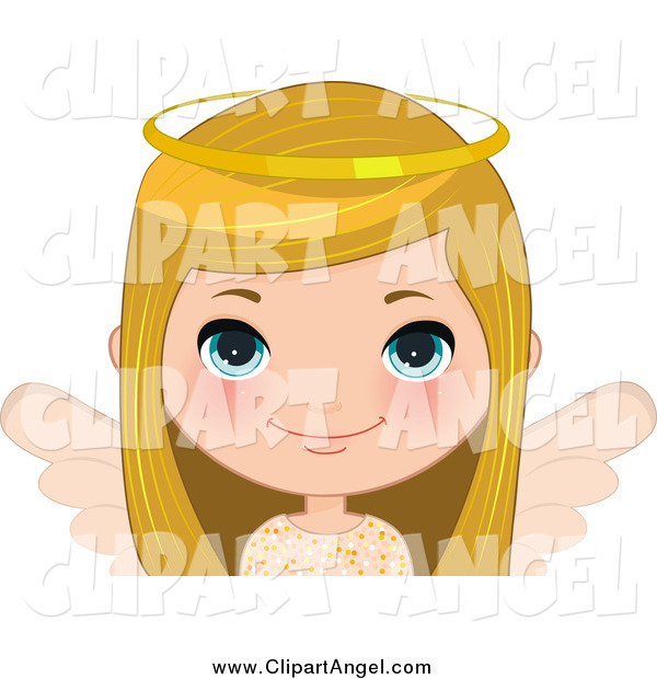 Illustration Vector Cartoon of a Blond White Angel Christmas Girl