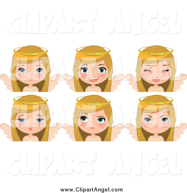 Illustration Vector Cartoon of a Blond White Angel Christmas Girl Showing Different Expressions