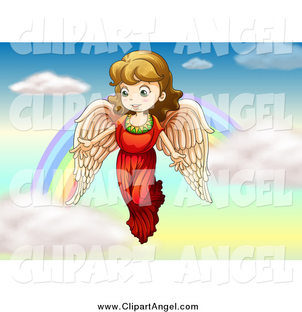 Illustration Vector Cartoon of a Brunette Angel Girl over a Rainbow