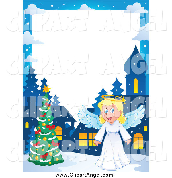 Illustration Vector Cartoon of a Christmas Angel Border with a Tree at Night