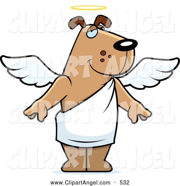 Illustration Vector Cartoon of a Cute Angel Dog with a Halo