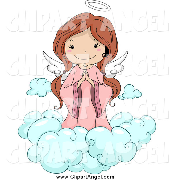 Illustration Vector Cartoon of a Cute Brunette White Angel Girl Praying on a Cloud