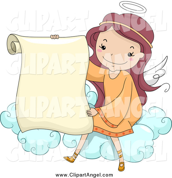 Illustration Vector Cartoon of a Cute Female Angel Holding a Scroll on a Cloud