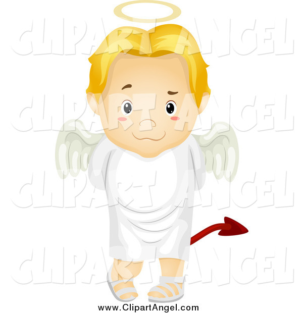 Illustration Vector Cartoon of a Deceitful Blond Angel Boy Trying to Hide a Devil Tail