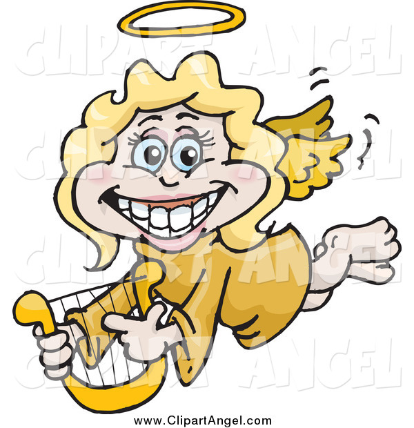 Illustration Vector Cartoon of a Happy Blond Female Angel Holding a Lyre