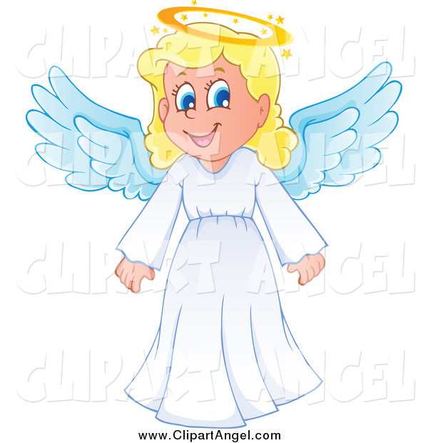 Illustration Vector Cartoon of a Happy Blond Girl Angel