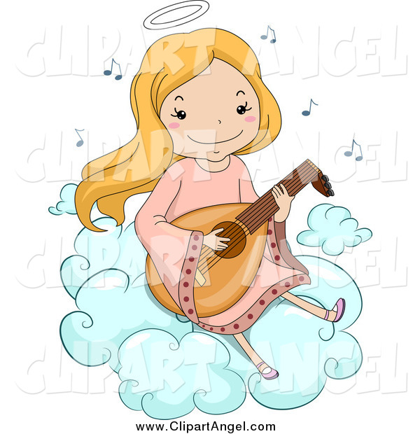 Illustration Vector Cartoon of a Happy Blond White Angel Girl Playing a Lute on a Cloud