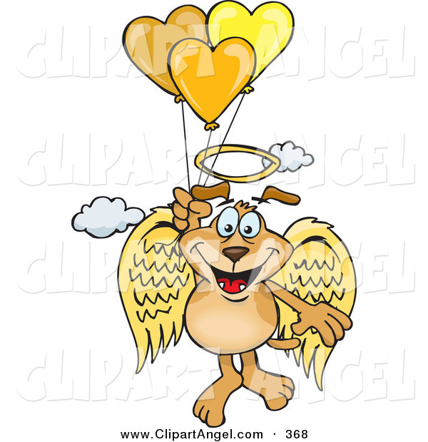 Illustration Vector Cartoon of a Happy Brown Dog Angel Floating in the Sky and Holding onto Heart Balloons