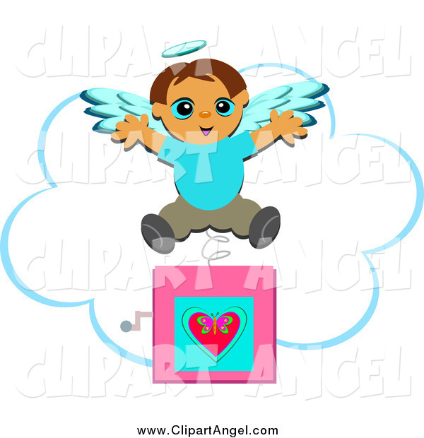 Illustration Vector Cartoon of a Jack in the Box Angel Boy Popping out over a Cloud