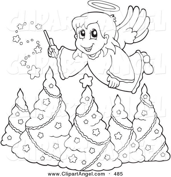 Illustration Vector Cartoon of a Lineart Christmas Angel Girl with a Wand over Trees