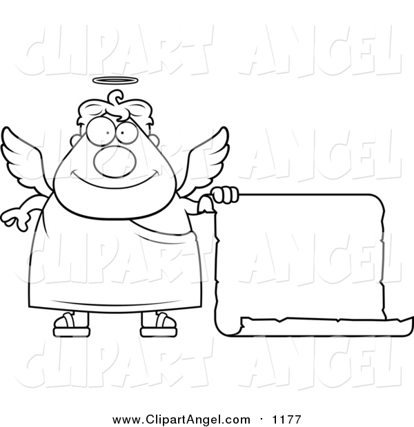 Illustration Vector Cartoon of a Lineart Plump Male Angel with a Blank Scroll Sign