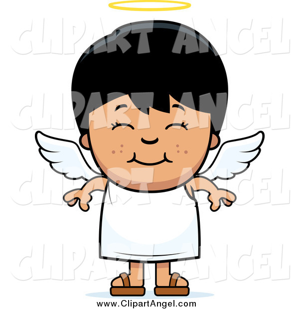 Illustration Vector Cartoon of a Smiling Cute Black Haired Angel Boy