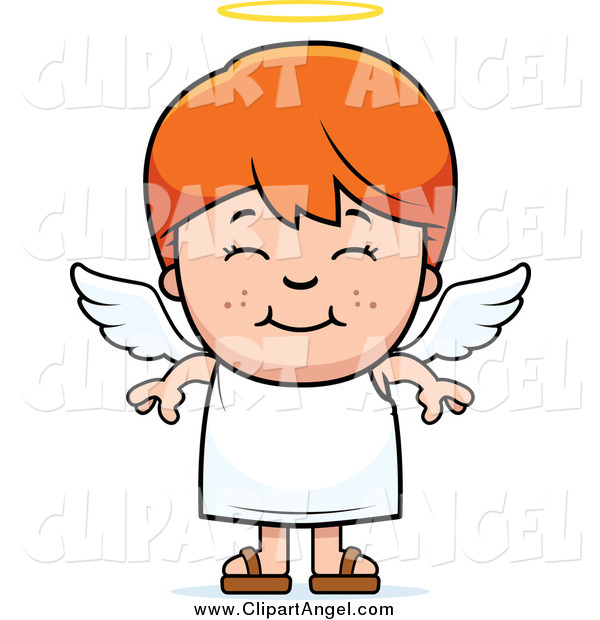 Illustration Vector Cartoon of a Smiling Happy Red Haired Angel Boy