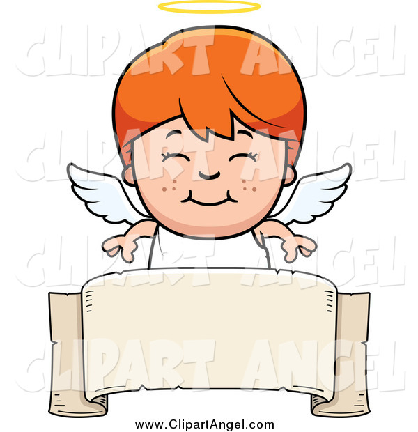 Illustration Vector Cartoon of a Smiling Red Haired White Angel Boy over a Banner