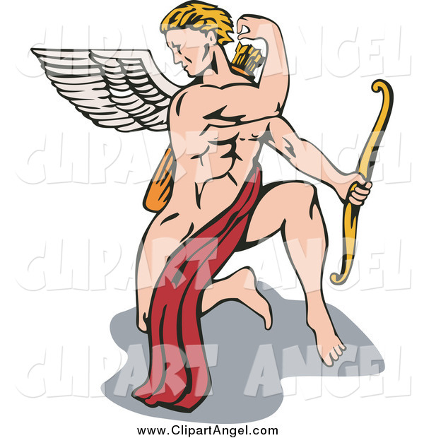 Illustration Vector Cartoon of a Strong Male Cupid Kneeling and Reaching for an Arrow