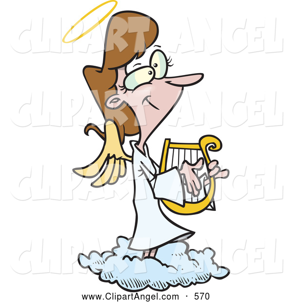 Illustration Vector Cartoon of an Cute Cartoon Female Angel Playing a Lyre