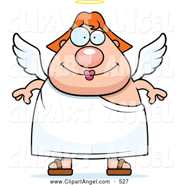 Illustration Vector Cartoon of an Cute Red Haired Female Angel