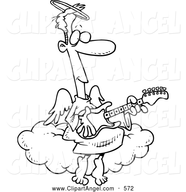 Illustration Vector Cartoon of an Friendly Angel Man Playing a Guitar