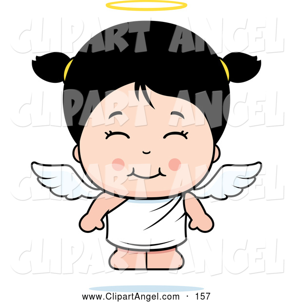 Illustration Vector Cartoon of an Happy and Cute Asian Angel Girl