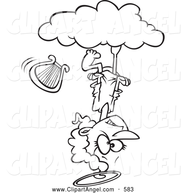 Illustration Vector Cartoon of an Mad Angel Upside down on a Cloud, on White