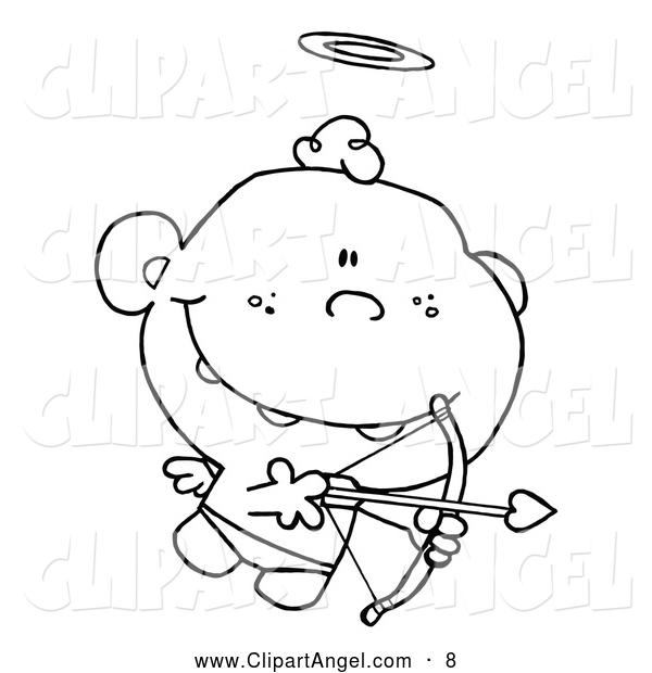 Illustration Vector Cartoon of an Outlined Cupid with Halo and Wings - Coloring Page Outline