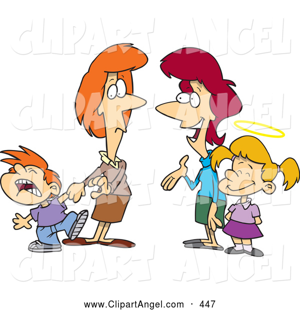 Illustration Vector Cartoon of Cartoon Mothers with Contrasting Kids; One Bratty and One Good