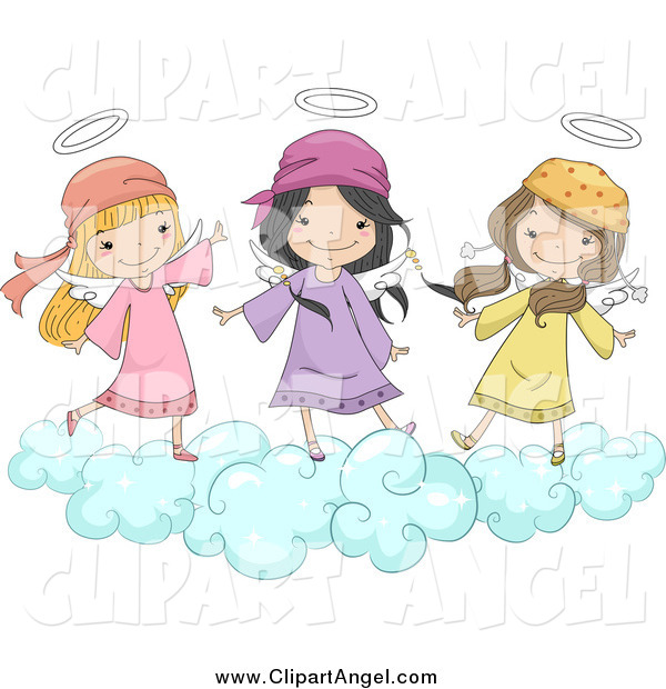 Illustration Vector Cartoon of Cute Angel Girls Jumping on a Cloud