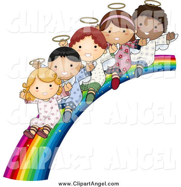 Illustration Vector Cartoon of Cute Diverse Angel Kids Sliding down a Rainbow