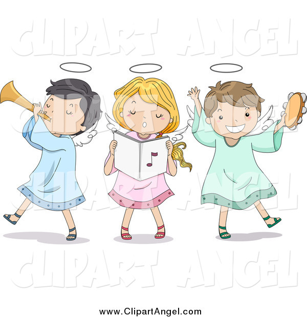 Illustration Vector Cartoon of Singing Angel Children Playing Instruments