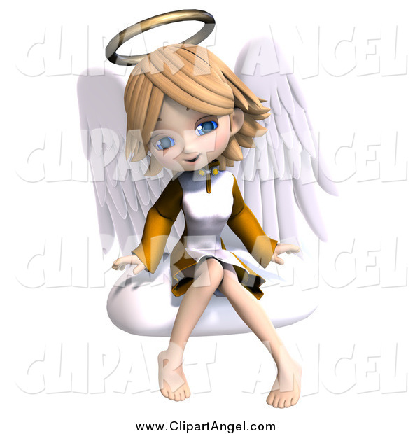 Illustration Vector of a 3d Blond Angel Girl Sitting on a Cloud