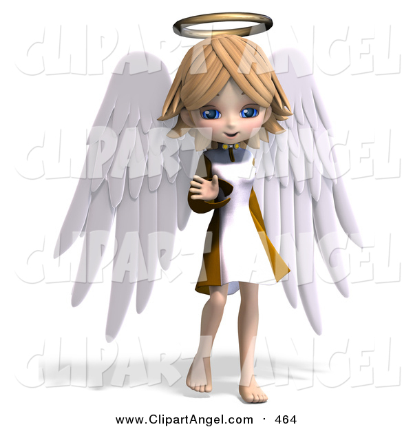 Illustration Vector of a 3d Blond White Angel Girl Waving