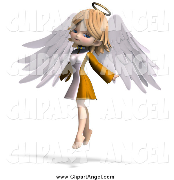 Illustration Vector of a 3d Blond White Cute Angel Girl Flying