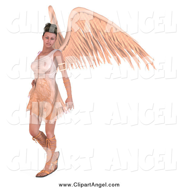 Illustration Vector of a 3d Brunette Angel Woman with Big Wings