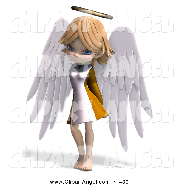 Illustration Vector of a 3d Cute Blond Angel Girl