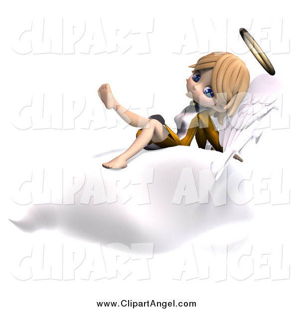 Illustration Vector of a 3d Cute Blond Angel Girl on a Cloud