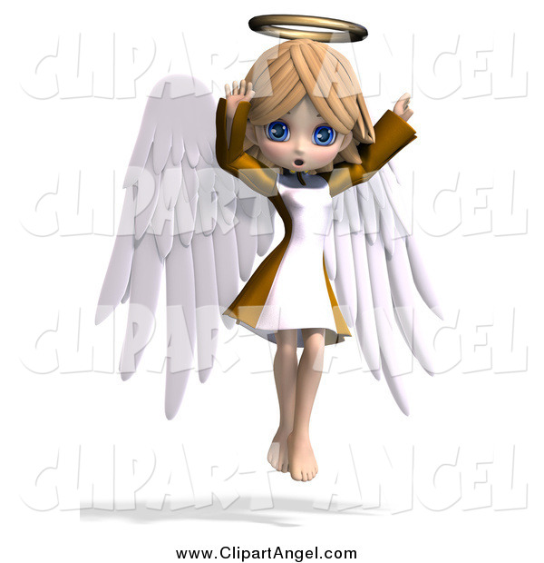 Illustration Vector of a 3d Cute Blond White Angel Girl Flying