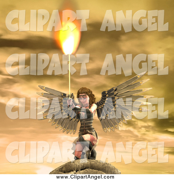 Illustration Vector of a 3d Female Angel Holding a Flaming Sword