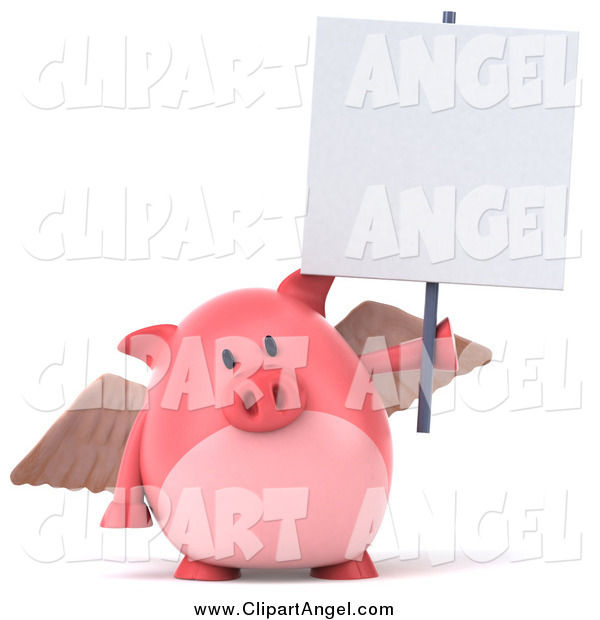 Illustration Vector of a 3d Pig Angel Holding up a Blank Sign