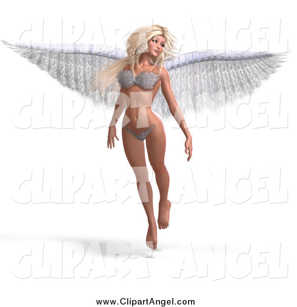 Illustration Vector of a 3d White Blond Angel or Fairy Floating in a Bikini
