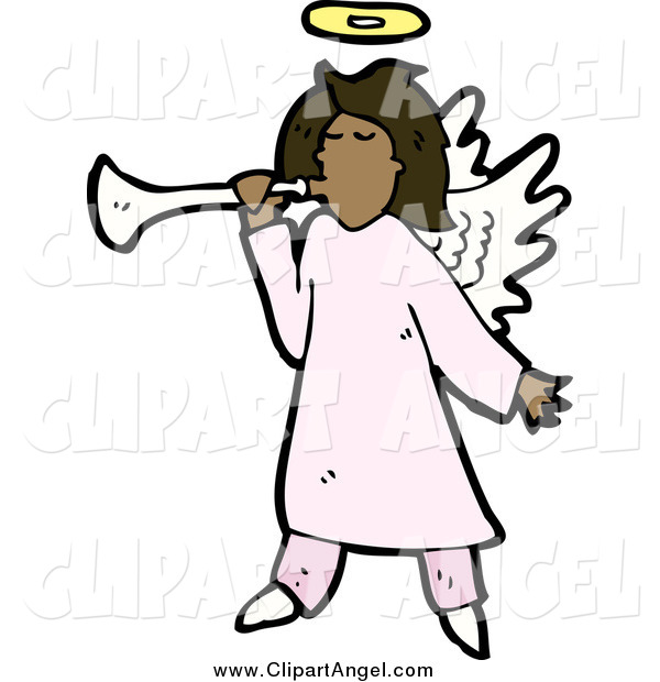 Illustration Vector of a African American Female Angel Playing a Horn