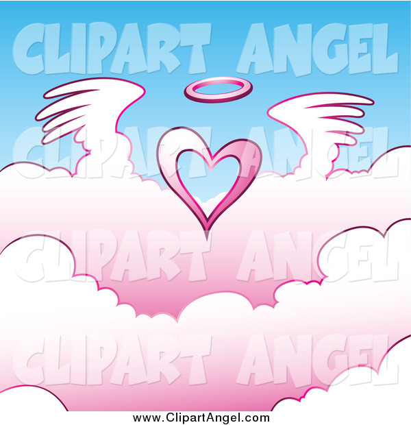 Illustration Vector of a Angel Heart Flying Above Pink Clouds