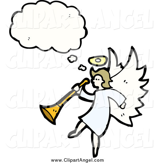 Illustration Vector of a Angel Thinking and Holding a Horn