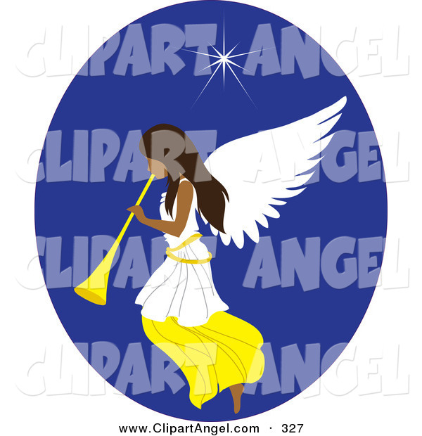 Illustration Vector of a Beautiful Tanned Christmas Angel with a Horn, Under the North Star