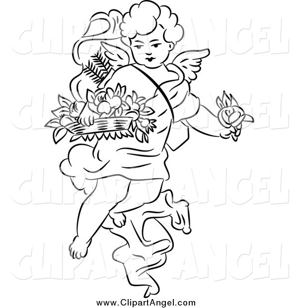 Illustration Vector of a Black and White Angel Cherub with Flowers