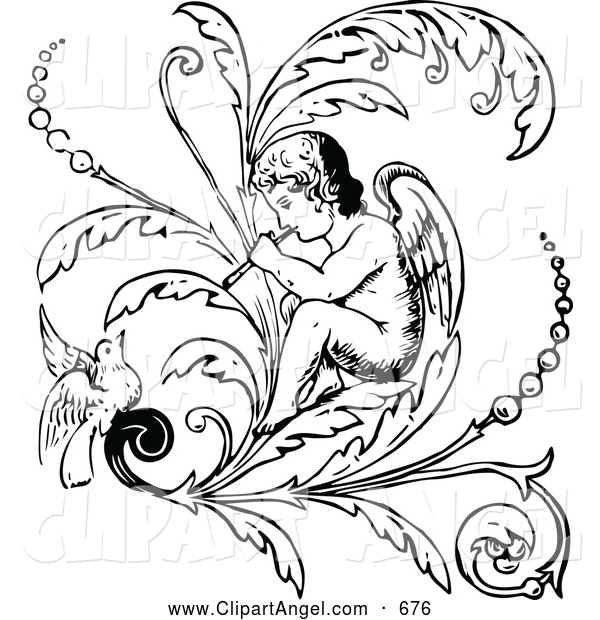 Illustration Vector of a Black and White Angel Playing a Flute on a Flourish with a Bird