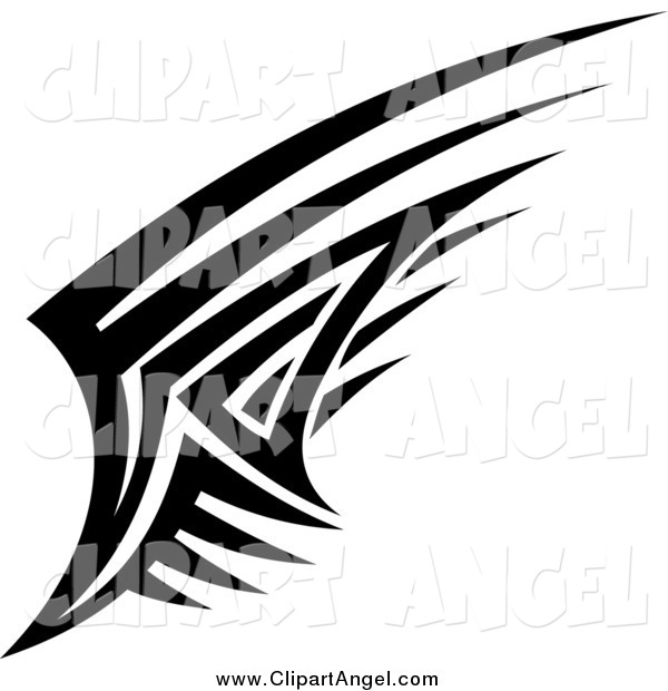 Illustration Vector of a Black and White Angel Wing