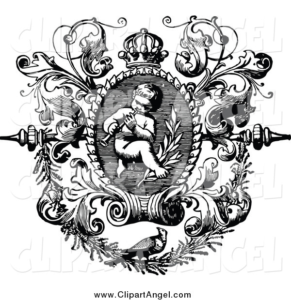 Illustration Vector of a Black and White Angelic Cherub Playing an Instrument in a Floral Frame