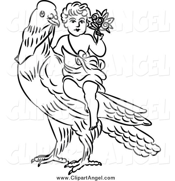 Illustration Vector of a Black and White Cherub with Flowers on a Dove
