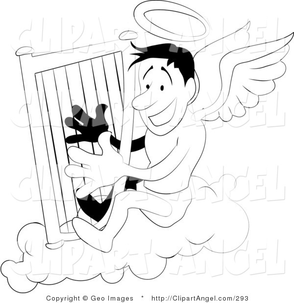 Illustration Vector of a Black and White Coloring Page of an Angel with a Halo Playing a Harp